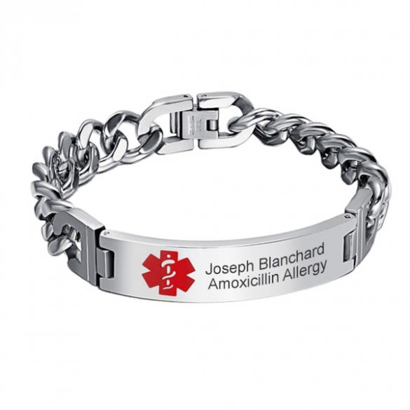 Medical Alert Bracelets >> Engraved Men S Medical Alert Id Bracelet