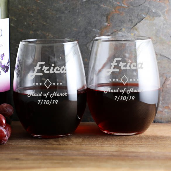 2892e6d33c2 Personalized Wedding Stemless Wine Glass 21 Oz | ForAllGifts