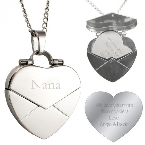 Custom Engraved Locket Gifts | Secret Engraved Message Heart Envelope Locket | Personalized Heart Shaped Lockets