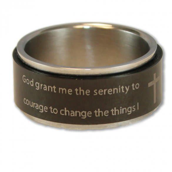 Black Stainless Steel Serenity Prayer Spinner Ring