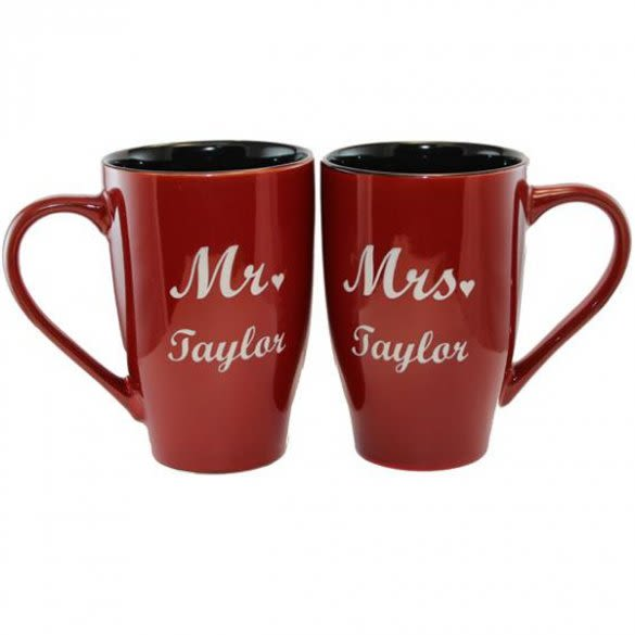 Engraved Mr And Mrs Coffee Mug Couples Customized Wedding Gifts