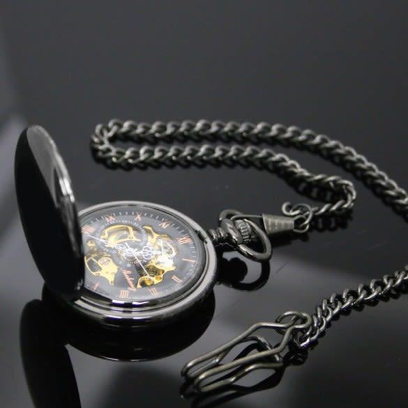 4ebd59dd0 Engraved Smooth Black Skeleton Pocket Watch | ForAllGifts