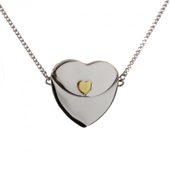 8aafdb524 Petite Secret Message Heart Envelope Locket with Gold Heart ...
