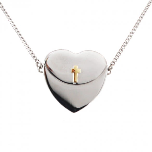 9bd01a2d5 Petite Secret Message Heart Envelope Locket with Gold Cross ...