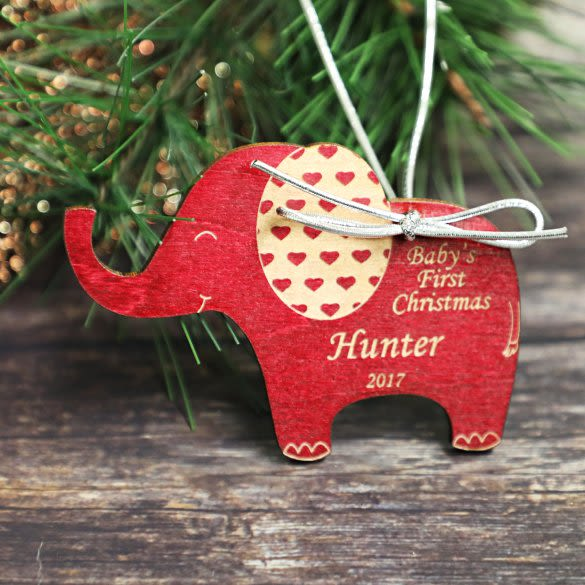 Baby S First Christmas Personalized Elephant Ornament