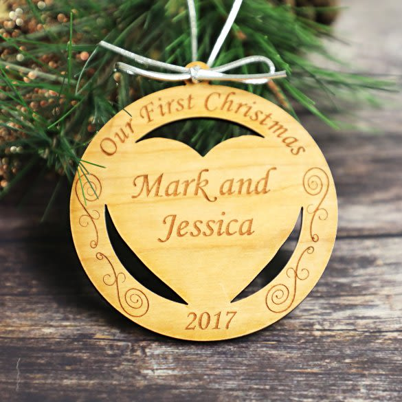 Our First Christmas Personalized Wood Carved Christmas Ornament