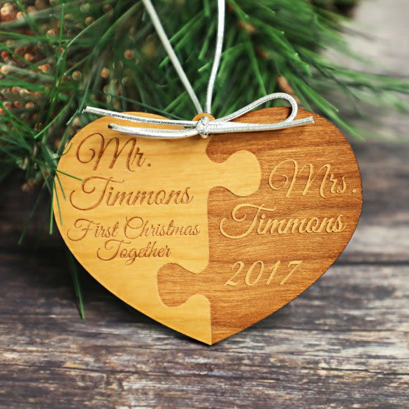 first christmas together mr mrs engraved wood ornament forallgifts