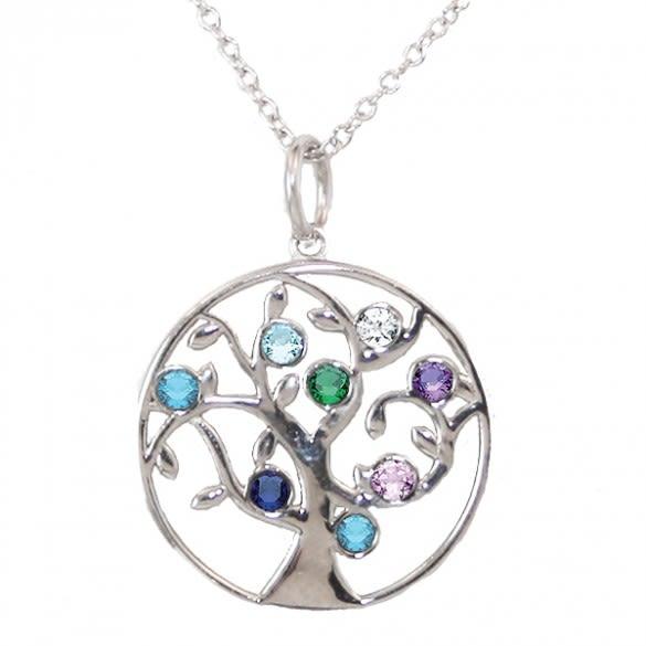 9f015121918a6 Family Tree Birthstone Necklace - 8 Birthstone Pendant