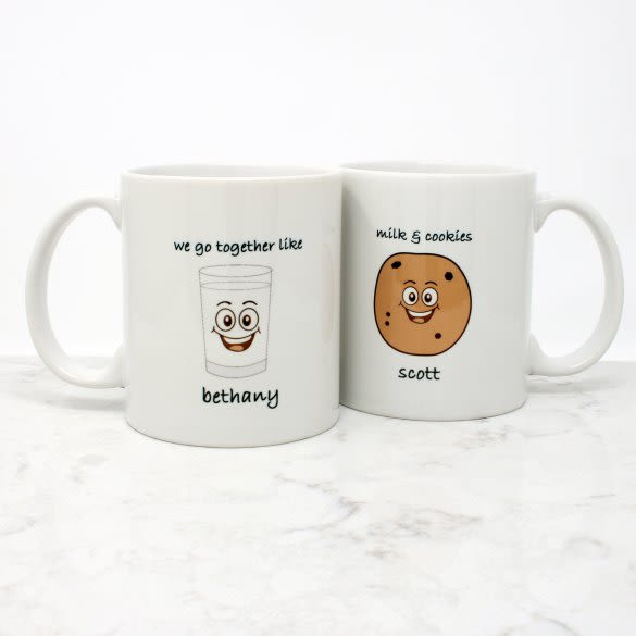 We Go Together Like Milk Cookies Personalized Mugs Set Of 2 11oz