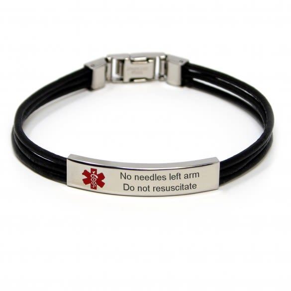 Medical Alert Bracelets >> Engravable Black Leather Triple Cord Medical Id Bracelet