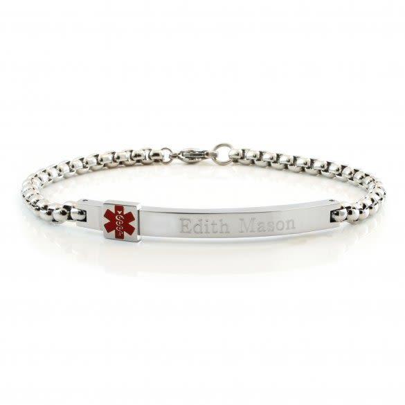 Medical Alert Bracelets >> Attractive Medical Alert Bracelets Engraved Box Link Id Bracelet
