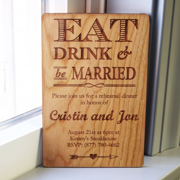 Best Wedding Invitation Sites: Eat, Drink & Be Married Personalized Wood Wedding Invitations
