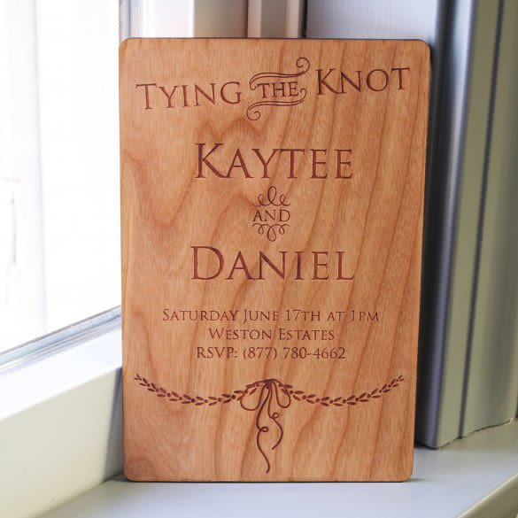 Tying The Knot Custom Engraved Wood Wedding Invitations
