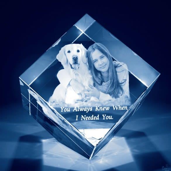 3D Photo Engraved Diamond Cube Crystal