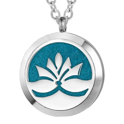 Silver Lotus Essential Oil Locket Personalized Aromatherapy Necklace