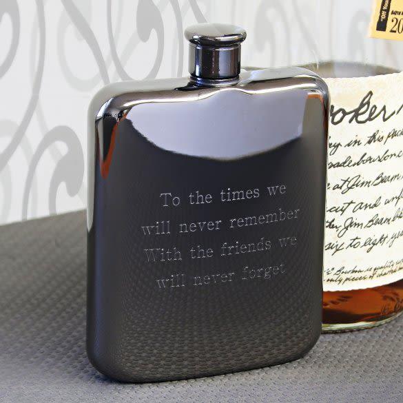 Engraved Gunmetal Black Flask By Viski