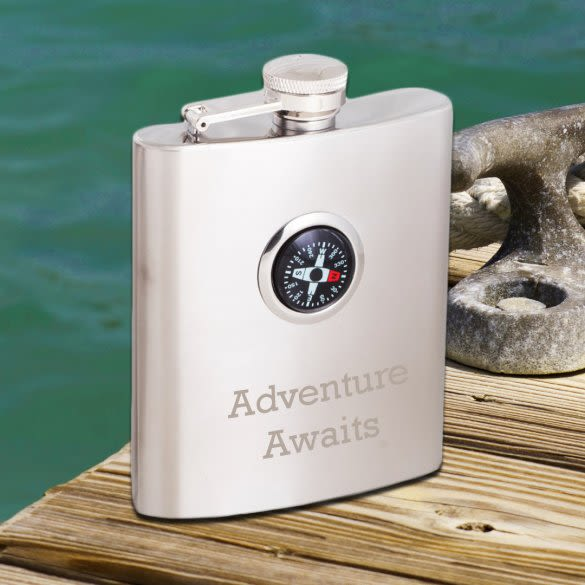Personalized Compass Flask Custom Engraved Flask With Compass