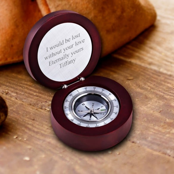 Personalized Compass In Rosewood Box