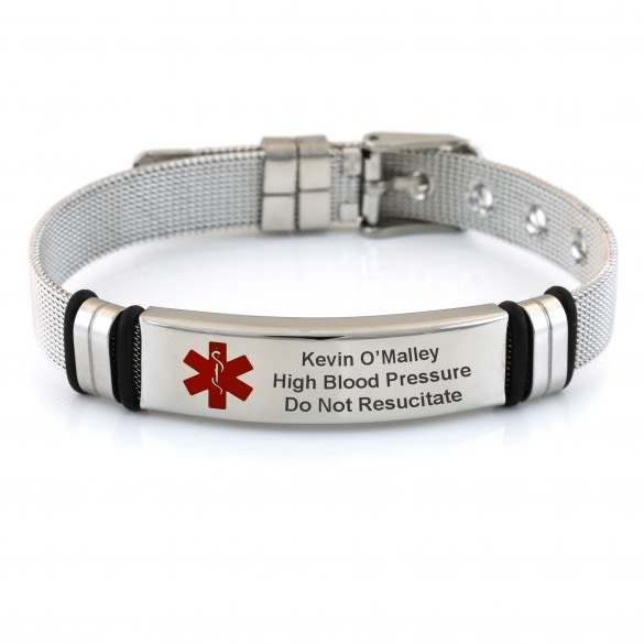 Medical Alert Bracelets >> Adjustable Mesh Band Medical Id Bracelet With Buckle