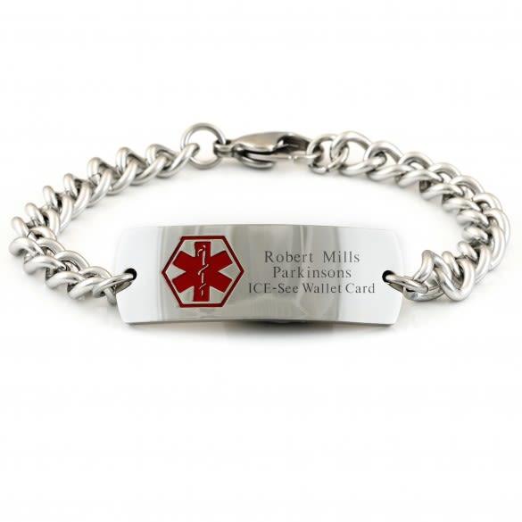 Medical Alert Bracelet >> Men S Medical Alert Bracelets Men S Engraved Wide Medical Id Bracelet