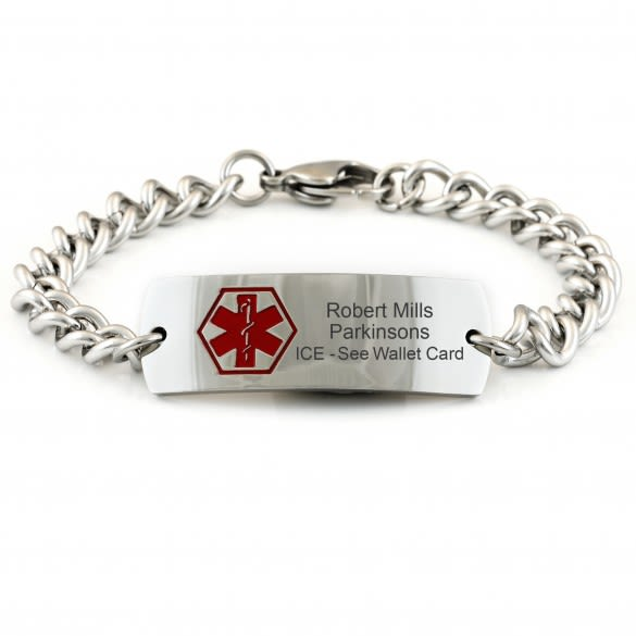 Medical Alert Bracelets >> Men S Engraved Wide Medical Id Bracelet