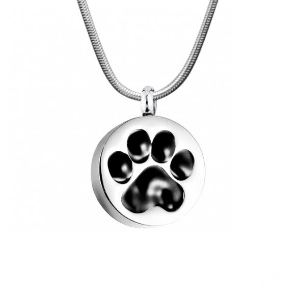 Round Paw Print Memorial Urn Necklace