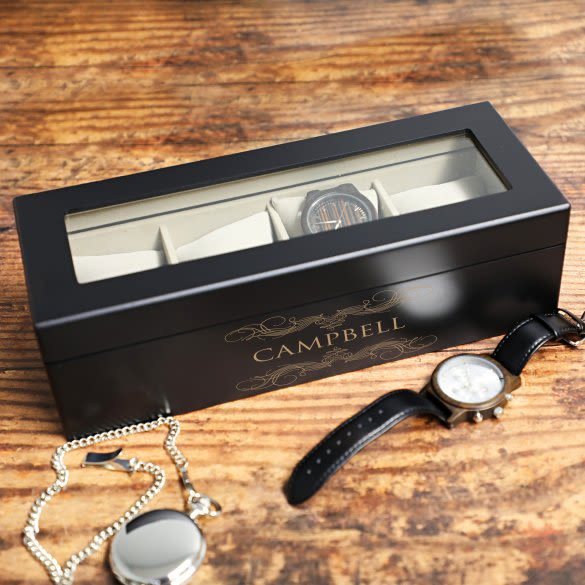 Personalized Watch Box Holds 4 Watches