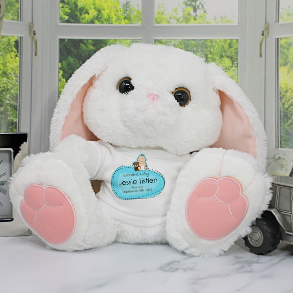 Personalised toy rabbit with blue t-shirt