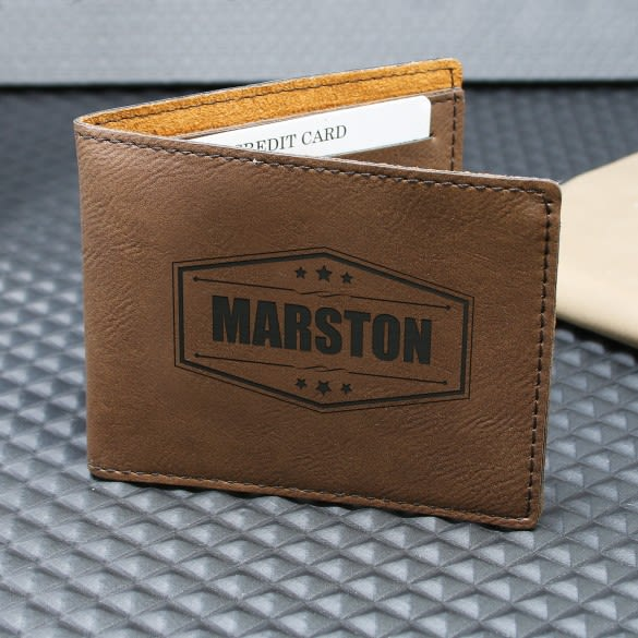 Brown Wallet with Name | Custom Name