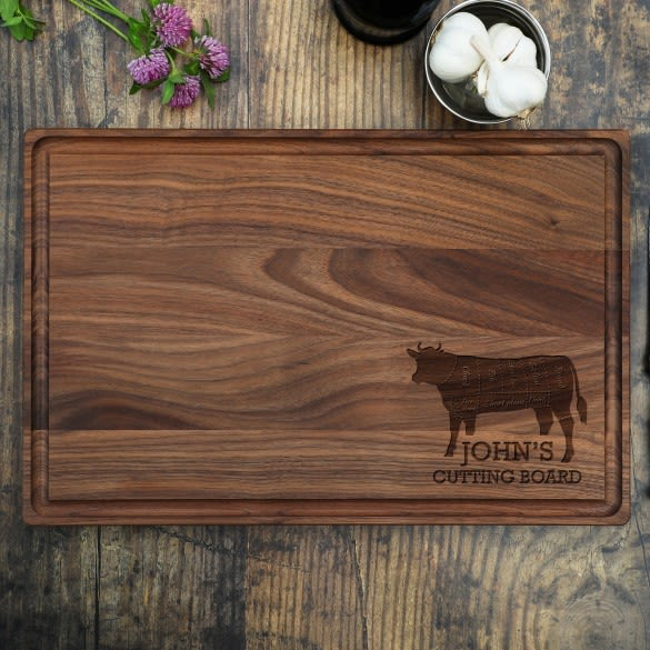 Engraved Corner Design Beef Butcher Chart Cutting Board Home Gifts