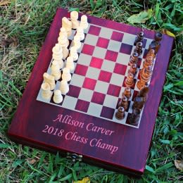 Choose your own font and text FREE ENGRAVING Personalized Chess Set -Traveling Chess Set Keepsake Gift Rosewood Box Christmas Gift
