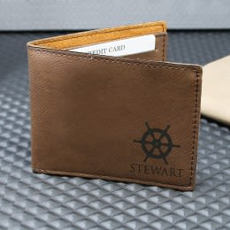 Personalized Wallet Trifold Leatherette Father/'s Day Graduation Groomsmen