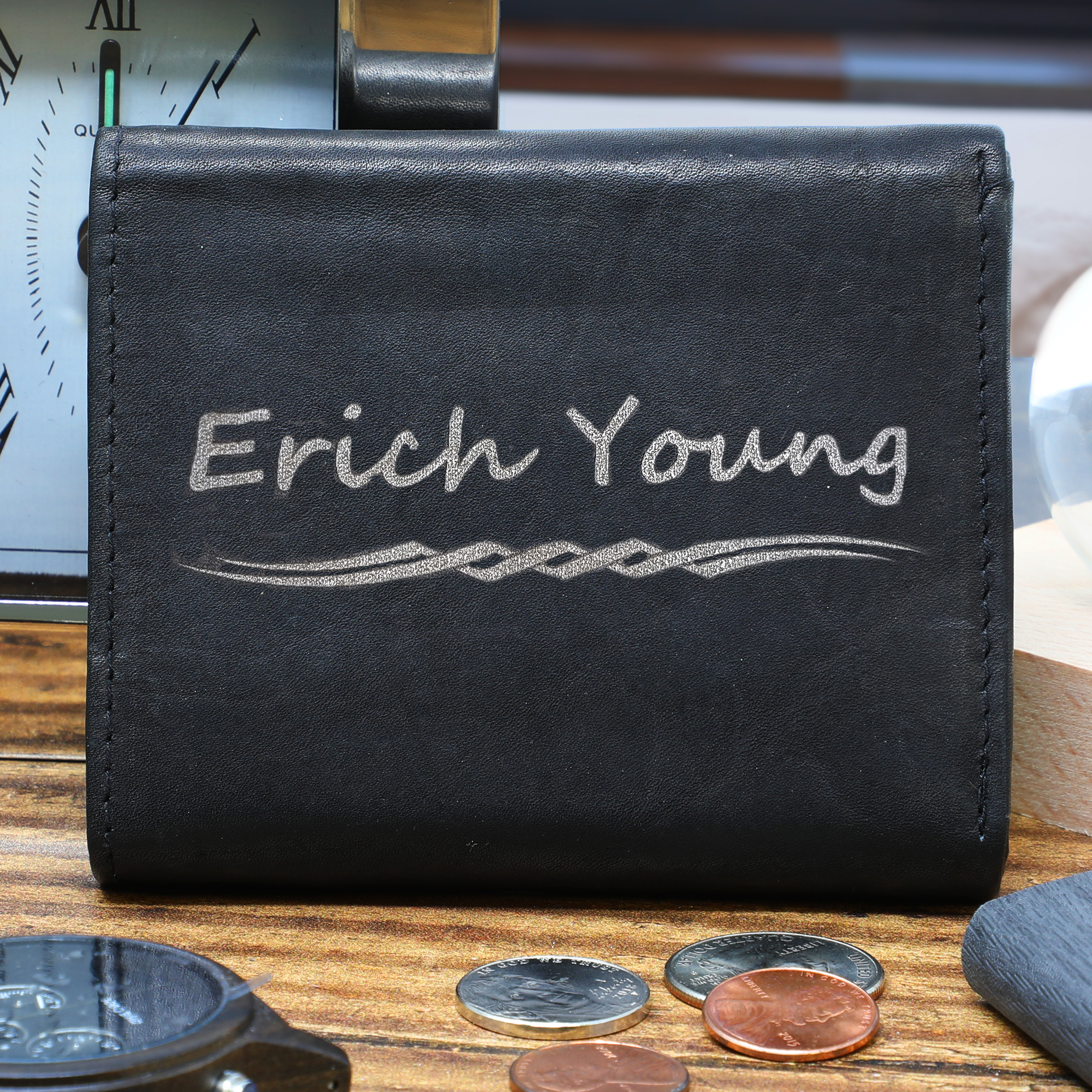 Personalized Custom Engraved Genuine Black Leather Trifold Wallet
