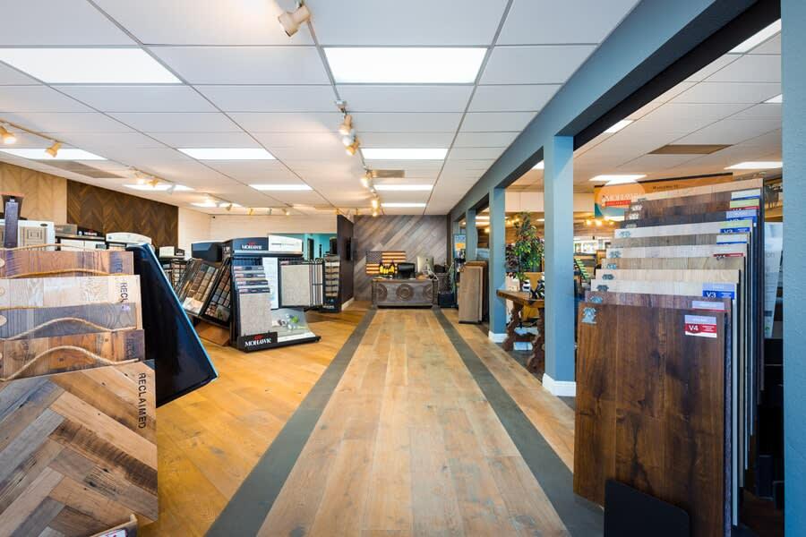 Hardwood flooring samples at America's Best Flooring in San Diego