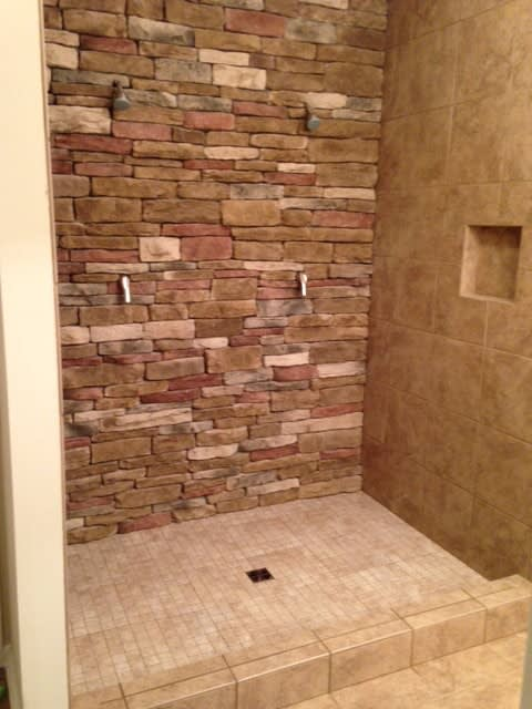 Stone shower in Copley OH from Barrington Carpet & Flooring Design