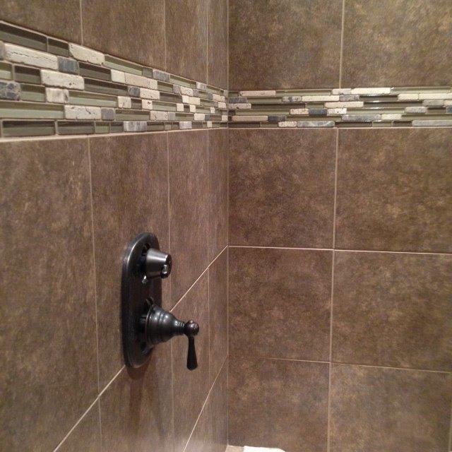 Glass tile shower in North Canton OH from Barrington Carpet & Flooring Design