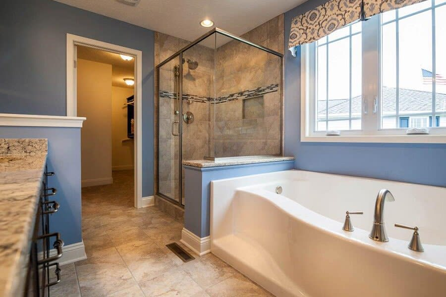 Luxury tile bathroom in Akron OH from Barrington Carpet & Flooring Design