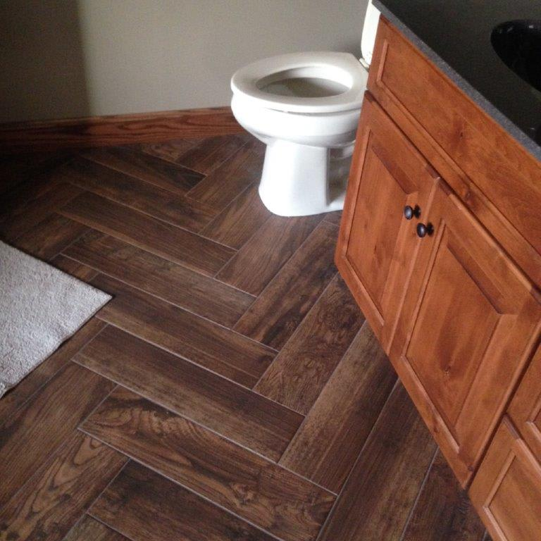 Wood bathroom floors in Akron OH from Barrington Carpet & Flooring Design