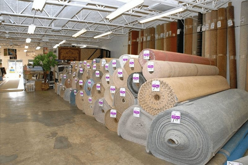 Our carpet rolls at Britt's Carpet Outlet stacked high and priced to sell