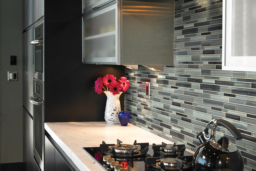 Custom tile backsplash in Woburn, MA from Watertown Floor Covering, LLC