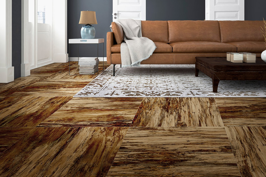 Wood look vinyl sheet flooring in