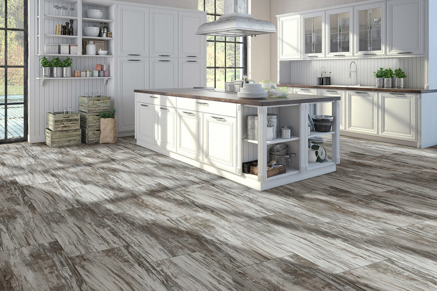 Wood look kitchen linoleum installation in Santa Clara, CA from Conklin Bros. Floor Coverings