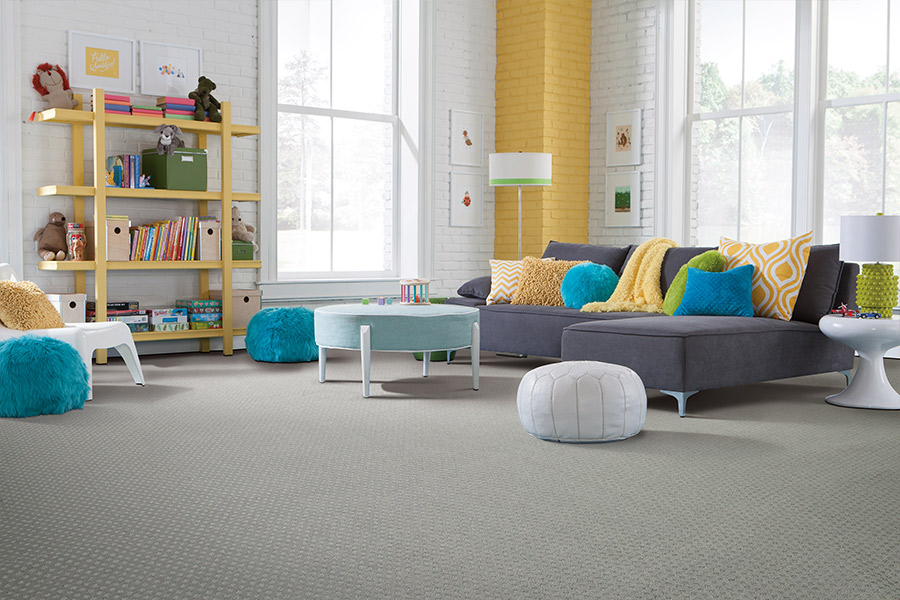 Textured gray carpet in colorful room in Scarsdale, NY |
