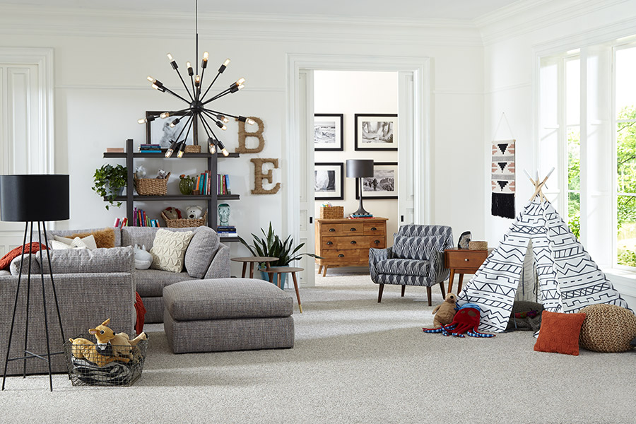 Modern gray carpeting for a family room in Scarsdale, NY from Kanter's Carpet & Design Center