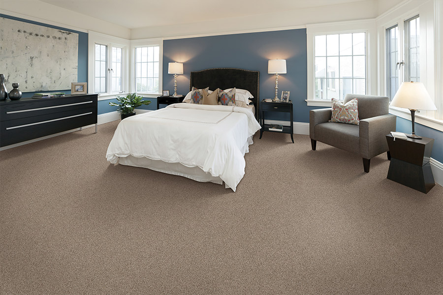 Light brown new carpet in master bedroom in White Plains, NY from Kanter's Carpet & Design Center