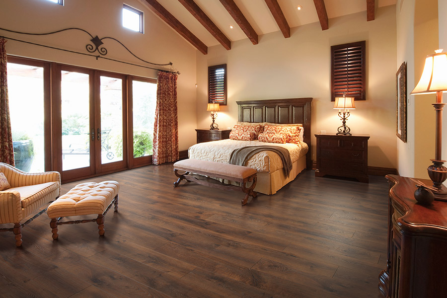 Dark wood look laminate floor planks in Redwood City CA from Total Hardwood Flooring Services