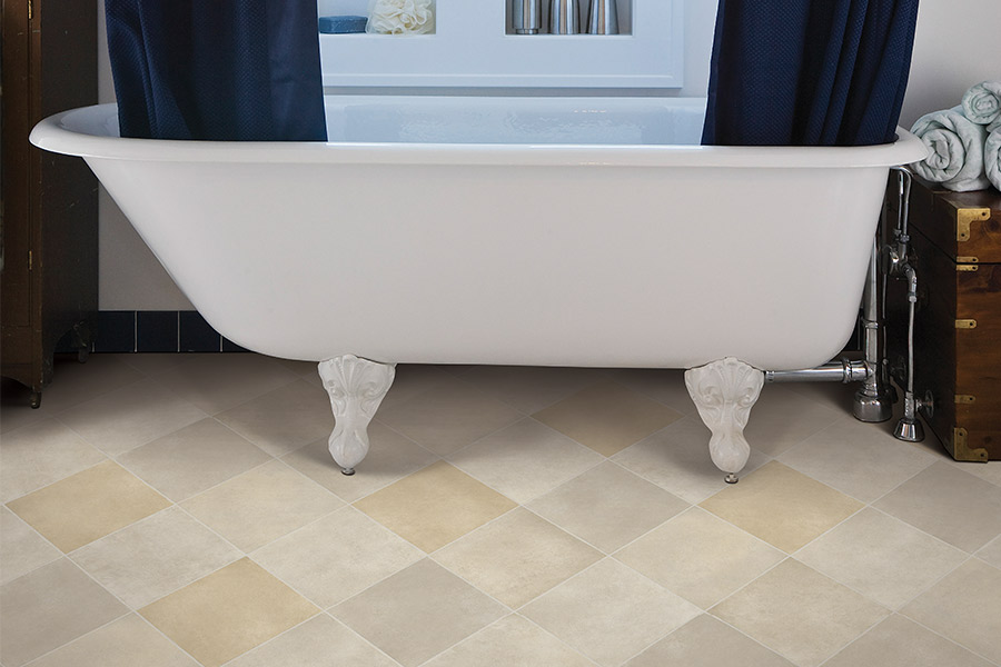 Waterproof luxury vinyl tile flooring for the bathroom in Rockwall TX from Joe's Floor Shop