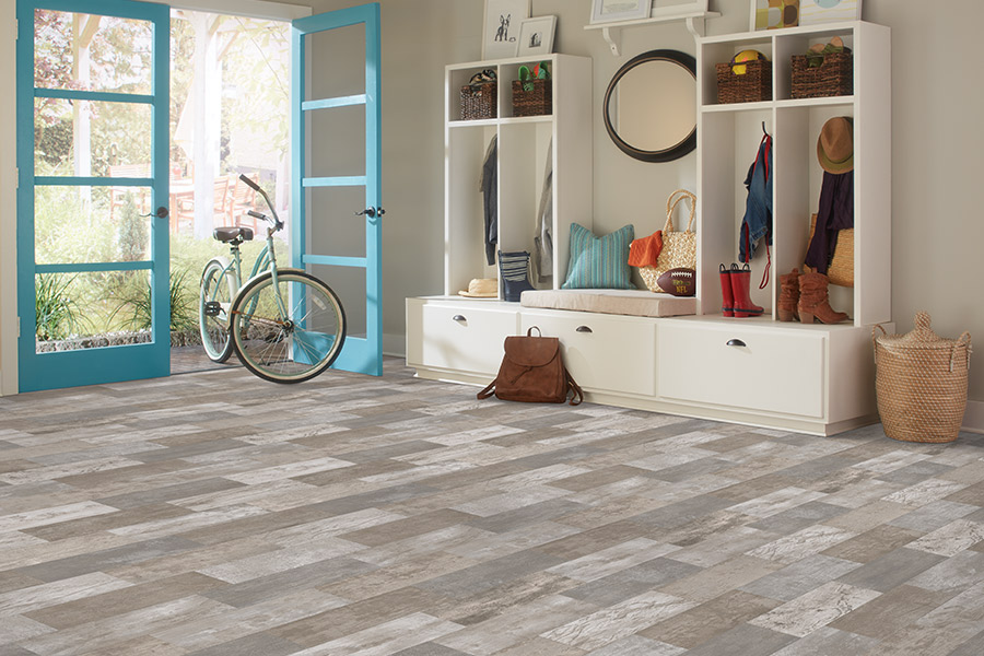 Waterproof luxury vinyl tile mudroom floors in Sedona AZ from Redrock Flooring Designs