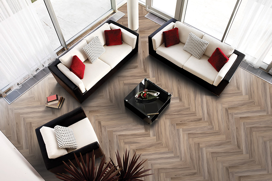 Herringbone wood look tile flooring installation in Rising Sun MD from Elkton Carpet & Tile