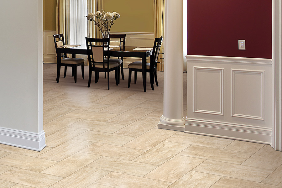 Wood look tile flooring in Brandon, MB from National Interiors